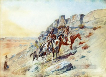 sighting the enemy Charles Marion Russell American Indians Oil Paintings